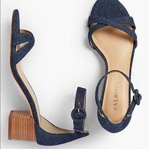 Talbots Denim Mimi Criss Cross Block Heel Sandals
